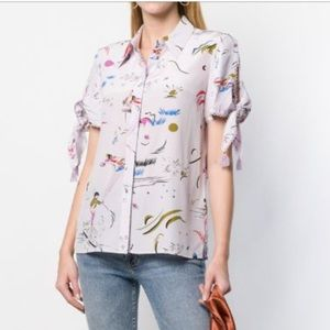 Tory Burch Embroidered Sleeve Silk Shirt